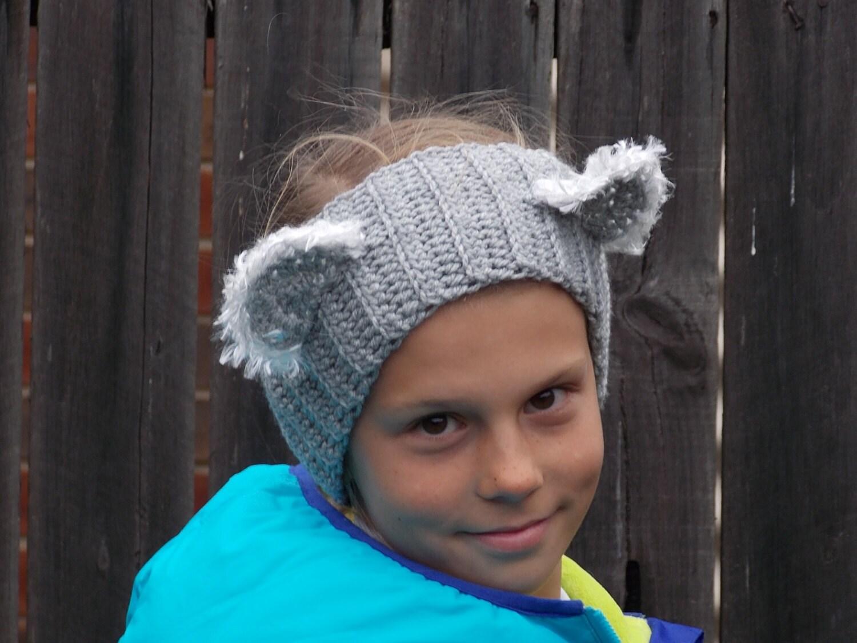 Koala Bear Earwarmer Headband With Fuzzy Ears Child Girl