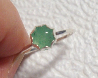 Green Aventurine Ring -  solid sterling silver from recycled eco friendly sources - READY to Mail in size 4 7/8 to 5    * SALE *