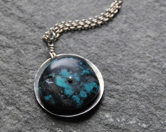 Riveted turquoise wheel necklace
