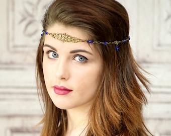 Antique Brass and Cobalt Blue Elven Circlet, Celtic Headpiece, Headchain, Boho Headband,Renaissance, Medieval, Costume Headpiece, Cosplay