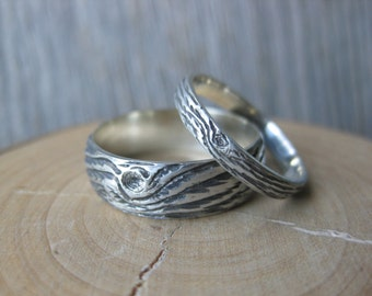 Wedding band set DRIFTWOOD branch twig wood ring woodgrain ring sterling silver Made to Order