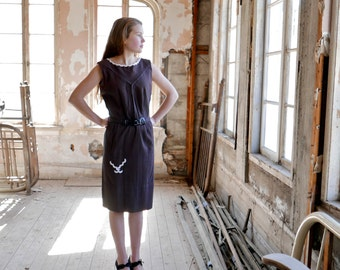 1950s Fashion Frock Black and Brown Seersucker Summer Dress XS * SALE *