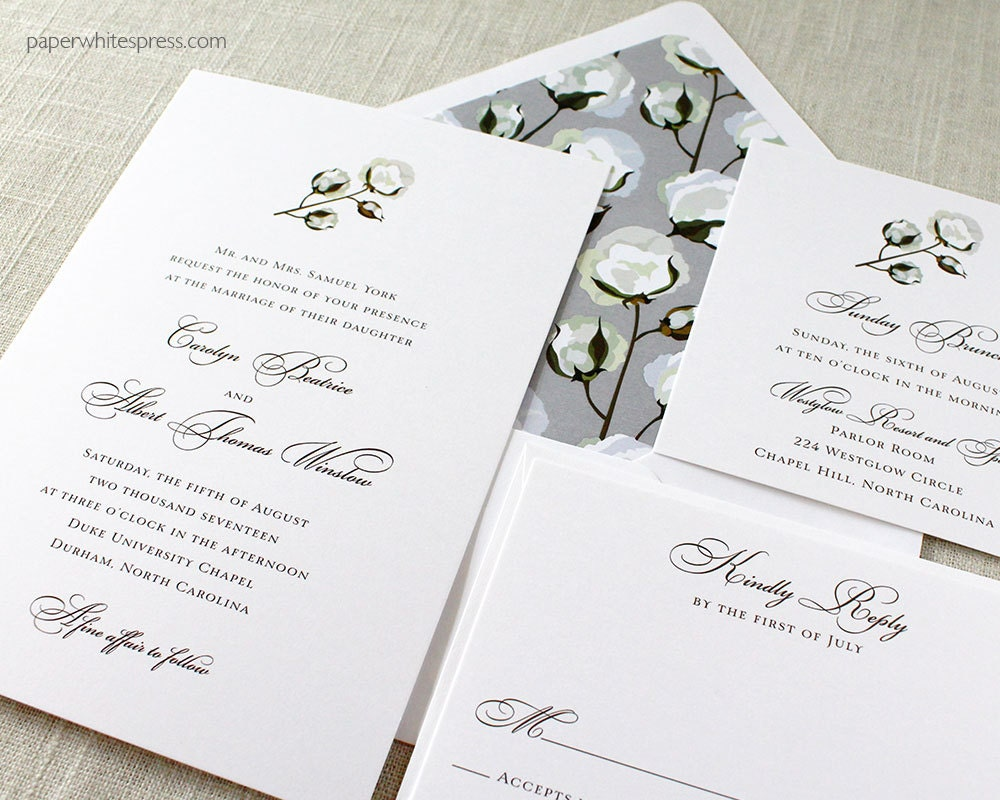 Cotton Wedding Invitations Boll