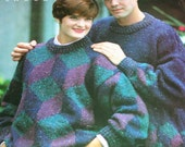 "Sweater Knitting Patterns Tumbling Blocks Beehive Patons 1083 Men Women Chunky Weight Yarn English French 30 - 44"" Paper Original NOT a PDF"
