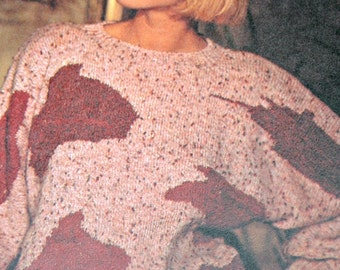 Sweater Knitting Pattern 1980s Graphic Dolman Women Sizes 32 - 34 and 36 - 38 Sport Weight Yarn Vintage Paper Original, NOT a PDF