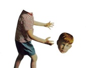 Surreal Art Original Collage on Paper Creepy Boy Odd Kid Strange Little Child Weird Artwork Surrealism Bizarre Wall Art