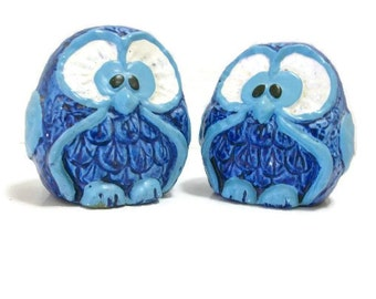 Retro Blue Owl Salt & Pepper Shakers | Kitschy Kitchen Owls