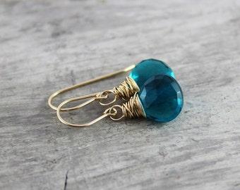 Teal Gemstone Earrings, Wire Wrap Earrings, Blue Quartz Earrings, Gold Filled Earrings, Teal Dangle Earrings, Bright Blue Earrings