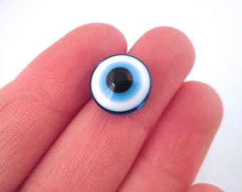 10 12mm evil eye beads, round blue nazur cabs
