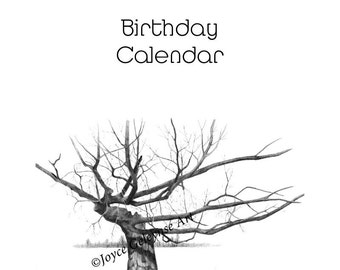 Printable Family BIRTHDAY Calendar, Perpetual, Quote About Family, Drawing of Gnarly Tree, Many Branches, PDF File, Instant Download