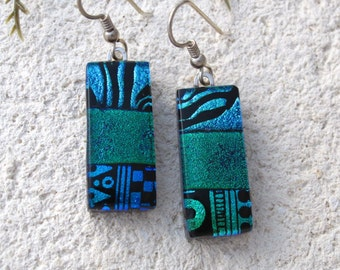 Blue Green Earrings, Dichroic Glass Earrings, Fused Glass Jewelry, Blue Green Jewelry, Dangle Drop Earrings, Sterling Silver, 081416e100