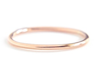 14K Solid Rose Gold round band - simple wedding band - pink gold ring - delicate stacking ring - minimalist jewelry / Ina 1.3mm 14K