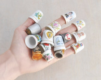 15 Vintage Sewing Thimbles - ceramic and metal lot - Charles & Diana , 1984 Olympics , souvenir places