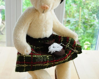 Billy - one of a kind white mohair artist teddy bear in kilt, 17 inches, by BigFeetBears