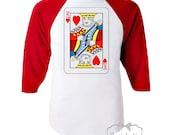 """Valentine Shirt Boy - Boys Valentine Baseball Retro Tee - """"King of Hearts"""" - Boy King Valentine - RED White Baseball Custom Size Vintage"""