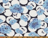 Vintage Feedsack Fabric - Blue Bachelors Buttons on White & Navy - Flour Sack Quilting Cotton 1930s 1940s