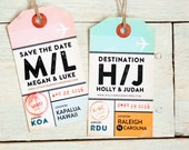 Save the Date Luggage Tag Invitation - Magnetic Luggage Tag with Airport Travel Design - Destination Wedding - Design Fee