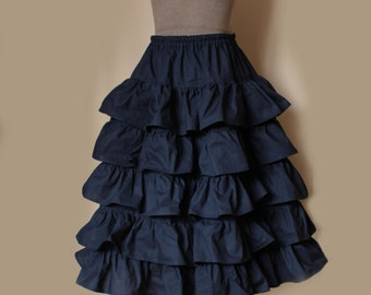 LONG RUFFLE SKIRT Cotton Tiered Petticoat (All Colours)
