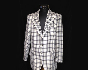 Vintage Mens Jacket, Sport Coat, Sportcoat, Blazer, 1970s, Wide Lapels, Blue and White Plaid, Polyester, Size 42, Mod, Medium