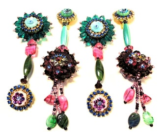 Reserved for Joanne, My little garden, Chic in multicolor , Exquisite rhinestone clip earrings, green, red, blue, pink tones