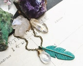 P e r c e p t i o n... Verdigris teal Brass feather, moonstone, boho, crown chakra, gold, brass, mixed metal, feather necklace FREE SHIPPING