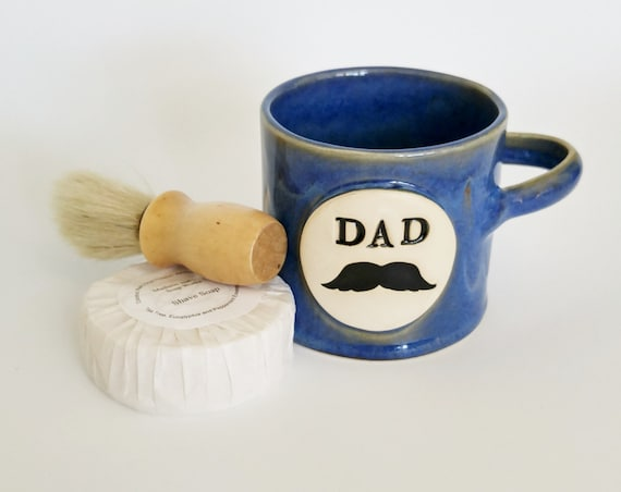 Shaving Mug - Stoneware - Gift for Him - Moustache - Dad - Shaving - Blue - Shaving Mug Set - Pottery Shaving Mug - Ceramic Shaving Mug