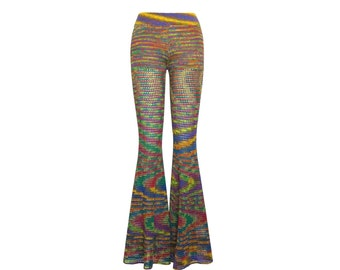 Size L Crochet Pants - Bell Bottoms in Double Rainbow - Handmade- Flared Leggings - Free US Shipping