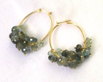 Plump Moss Aquamarine Cluster Drop Earrings, Gold Vermeil Fill Oval Hoops...