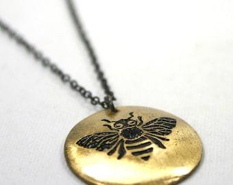 Honey Bee brass pendant necklace - etched metalwork