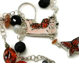 Fairy Jewelry-Long Lariat Necklace-Gypsy Fairy Necklace-Long Y Fairy Necklace-Butterfly Necklace-Porcelain Fairy Necklace-Layering Necklace