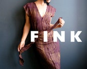 Just Like Love - iheartfink Handmade Hand Printed Womens Silky Rayon Purple Metallic Gold Long Jersey Dress