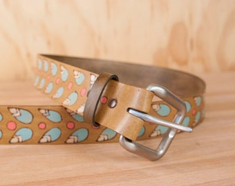 Leather Belt - Handmade Belt for Women or Men in the Petal Pattern with stylized flowers and leaves - sage and antique brown