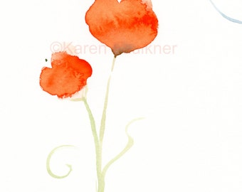 "Original watercolor painting: ""Orange Posies and a Dragonfly"""