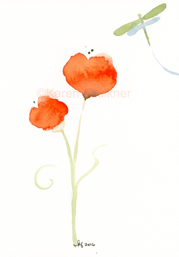 """Original watercolor painting: """"Orange Posies and a Dragonfly"""""""