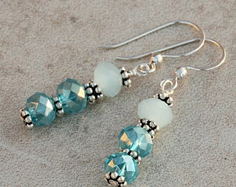 Blue Crystal Earrings, Ocean Seaside Tropical Beach Winter Frozen, Faceted Frosted Glass, Sparkle Crystals, Sterling Silver EBLU