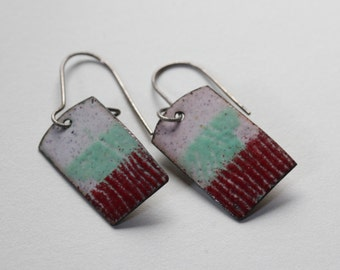 Red and Green Enamel Earrings -  OOAK