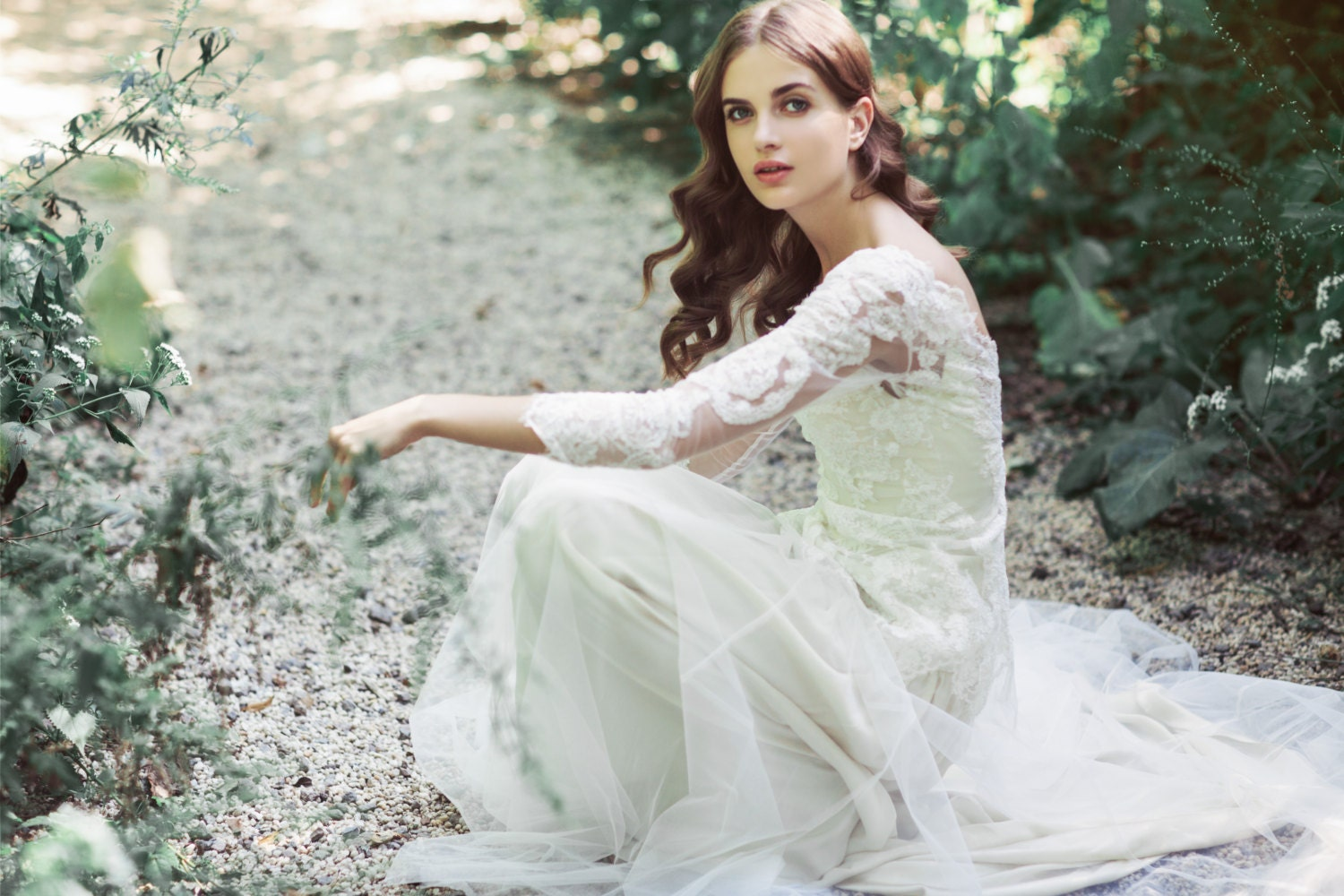 Sample Sale Two-Piece Ivory Lace And Tulle Wedding Gown: