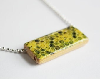 Lemon Honeycomb Necklace - Bamboo Tile Pendant - by Gazzu