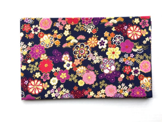 Japanese Fabric - Cotton Fabric -  1 Yard -  Dark Blue Fabric - Plum  Blossoms - Flower Fabric - Purple Flowers - 110 cm x 100 cm (F49-P17)