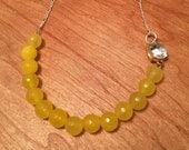 Yellow Glass and Vintage Broach Necklace- Asymmetrical, Funky, Artsy, Natural, Unique, Sterling Silver, Gold, Wedding, Free Gift w/ Purchase