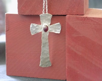 Argentium Silver and Ruby Cross Necklace