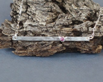 Pink Tourmaline Pendant, Skinny Bar Necklace, Bar Necklace, Sterling Silver Necklace, October Birthstone, Bezel Set, Round Tourmaline
