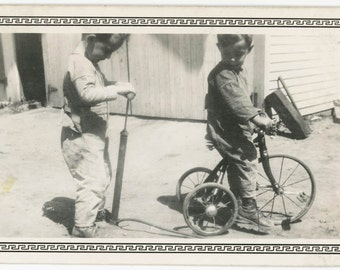 vintage photo 1920 Little Boys Ride Tricycle Pump up Flat tire Play snapshot photo
