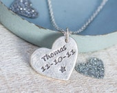 Personalised Silver Heart Pendant - New Baby Necklace, Valentines Gift for mum, mommy necklace, new baby gift, christening gift