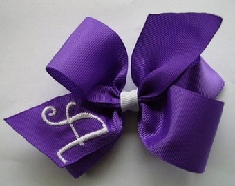 Purple Initial, Hair Bow, Monogrammed Girls, HairBow Letter, Personalized gift, Custom Boutique, Basic clip, monogram grape, purple solid,