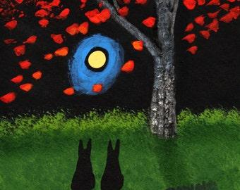 Doberman Dog Folk Art PRINT Todd Young painting Falling Leaves