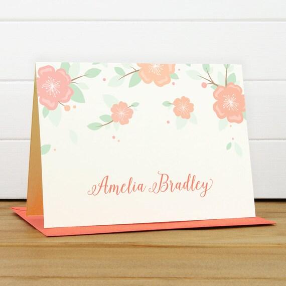 Custom Stationery / Custom Stationary - ANEMONE Custom Note Card Set - Couples Engagement Wedding Thank You