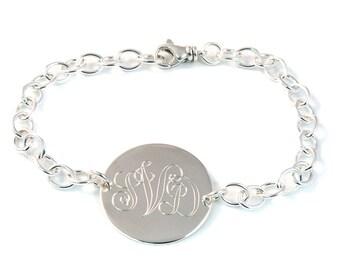 Large Script Monogram Bracelet - Sterling Silver Monogram Jewelry - Monogrammed Bracelet - Personalized Bracelet