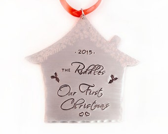 Personalized Our First Christmas Ornament - House Ornament - First Christmas Together - Personalized Tree Ornament - Hand Stamped Ornament