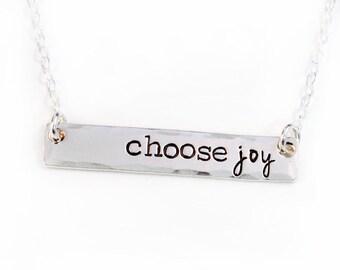 Choose Joy Bar Necklace - Layering Necklace - Sterling Silver - Silver Bar Necklace -